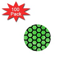 Hexagon2 Black Marble & Green Watercolor (r) 1  Mini Buttons (100 Pack)  by trendistuff