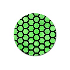 Hexagon2 Black Marble & Green Watercolor (r) Magnet 3  (round) by trendistuff