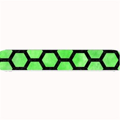 Hexagon2 Black Marble & Green Watercolor (r) Small Bar Mats by trendistuff