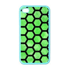 Hexagon2 Black Marble & Green Watercolor (r) Apple Iphone 4 Case (color) by trendistuff