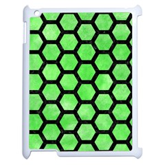 Hexagon2 Black Marble & Green Watercolor (r) Apple Ipad 2 Case (white) by trendistuff
