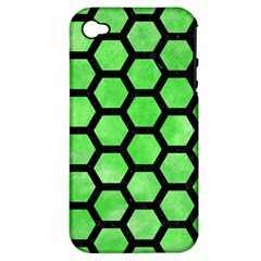 Hexagon2 Black Marble & Green Watercolor (r) Apple Iphone 4/4s Hardshell Case (pc+silicone) by trendistuff