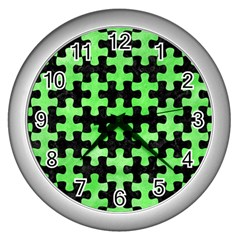 Puzzle1 Black Marble & Green Watercolor Wall Clocks (silver)  by trendistuff