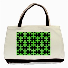 Puzzle1 Black Marble & Green Watercolor Basic Tote Bag by trendistuff