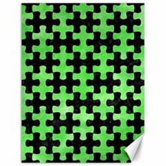 Puzzle1 Black Marble & Green Watercolor Canvas 12  X 16   by trendistuff