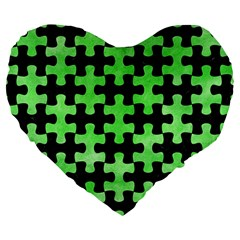 Puzzle1 Black Marble & Green Watercolor Large 19  Premium Heart Shape Cushions by trendistuff