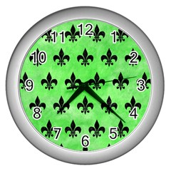 Royal1 Black Marble & Green Watercolor Wall Clocks (silver)  by trendistuff