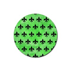 Royal1 Black Marble & Green Watercolor Rubber Round Coaster (4 Pack)  by trendistuff