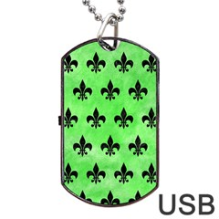 Royal1 Black Marble & Green Watercolor Dog Tag Usb Flash (one Side) by trendistuff