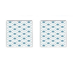 Art Deco,shell Pattern,teal,white Cufflinks (square) by 8fugoso