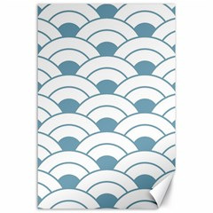 Art Deco,shell Pattern,teal,white Canvas 24  X 36  by 8fugoso