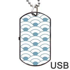 Art Deco,shell Pattern,teal,white Dog Tag Usb Flash (one Side) by 8fugoso