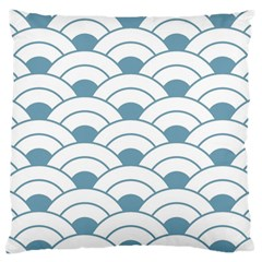 Art Deco,shell Pattern,teal,white Large Flano Cushion Case (two Sides) by 8fugoso