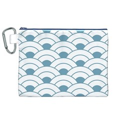Art Deco,shell Pattern,teal,white Canvas Cosmetic Bag (xl) by Love888