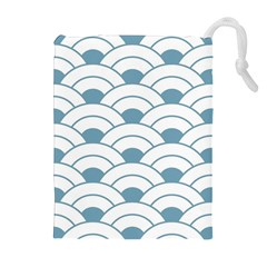 Art Deco,shell Pattern,teal,white Drawstring Pouches (extra Large) by 8fugoso