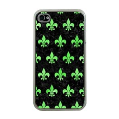 Royal1 Black Marble & Green Watercolor (r) Apple Iphone 4 Case (clear) by trendistuff