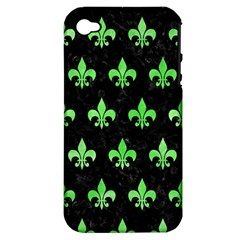 Royal1 Black Marble & Green Watercolor (r) Apple Iphone 4/4s Hardshell Case (pc+silicone) by trendistuff