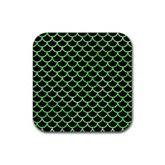 Scales1 Black Marble & Green Watercolor Rubber Square Coaster (4 Pack)  by trendistuff