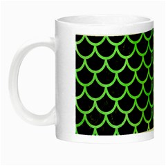 Scales1 Black Marble & Green Watercolor Night Luminous Mugs by trendistuff