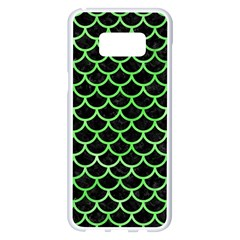 Scales1 Black Marble & Green Watercolor Samsung Galaxy S8 Plus White Seamless Case by trendistuff