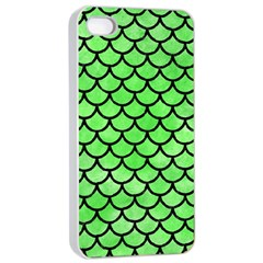 Scales1 Black Marble & Green Watercolor (r) Apple Iphone 4/4s Seamless Case (white) by trendistuff