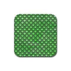 Scales2 Black Marble & Green Watercolor (r) Rubber Square Coaster (4 Pack)  by trendistuff