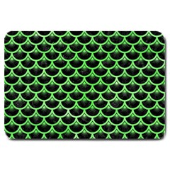 Scales3 Black Marble & Green Watercolor Large Doormat