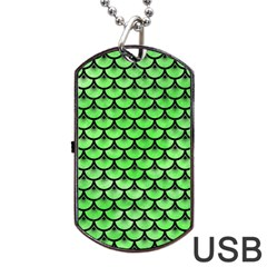 Scales3 Black Marble & Green Watercolor (r) Dog Tag Usb Flash (two Sides) by trendistuff