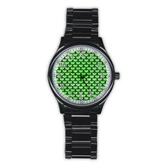 Scales3 Black Marble & Green Watercolor (r) Stainless Steel Round Watch by trendistuff