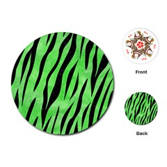 Skin3 Black Marble & Green Watercolor (r) Playing Cards (round)  by trendistuff