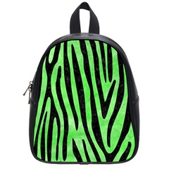 Skin4 Black Marble & Green Watercolor School Bag (small) by trendistuff