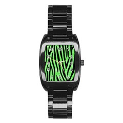 Skin4 Black Marble & Green Watercolor Stainless Steel Barrel Watch by trendistuff