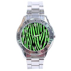 Skin4 Black Marble & Green Watercolor (r) Stainless Steel Analogue Watch by trendistuff