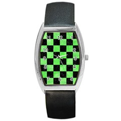 Square1 Black Marble & Green Watercolor Barrel Style Metal Watch by trendistuff