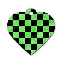 Square1 Black Marble & Green Watercolor Dog Tag Heart (one Side) by trendistuff