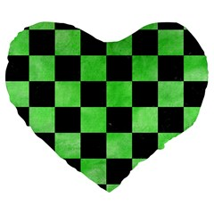 Square1 Black Marble & Green Watercolor Large 19  Premium Flano Heart Shape Cushions by trendistuff