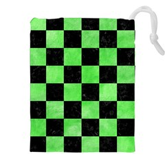 Square1 Black Marble & Green Watercolor Drawstring Pouches (xxl) by trendistuff