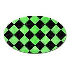 Square2 Black Marble & Green Watercolor Oval Magnet by trendistuff