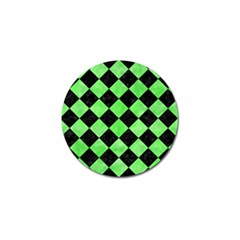 Square2 Black Marble & Green Watercolor Golf Ball Marker by trendistuff