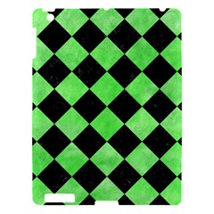 Square2 Black Marble & Green Watercolor Apple Ipad 3/4 Hardshell Case by trendistuff
