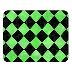 Square2 Black Marble & Green Watercolor Double Sided Flano Blanket (large)  by trendistuff