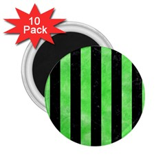 Stripes1 Black Marble & Green Watercolor 2 25  Magnets (10 Pack)  by trendistuff