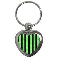 Stripes1 Black Marble & Green Watercolor Key Chains (heart)  by trendistuff