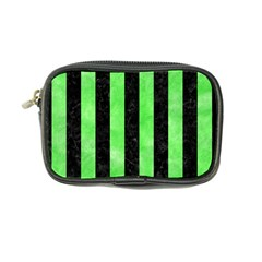 Stripes1 Black Marble & Green Watercolor Coin Purse by trendistuff