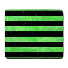 Stripes2 Black Marble & Green Watercolor Large Mousepads by trendistuff