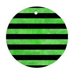 Stripes2 Black Marble & Green Watercolor Round Ornament (two Sides) by trendistuff
