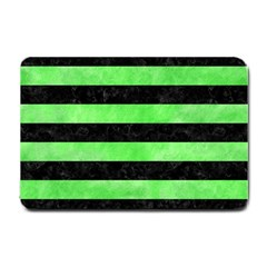 Stripes2 Black Marble & Green Watercolor Small Doormat  by trendistuff