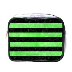 Stripes2 Black Marble & Green Watercolor Mini Toiletries Bags