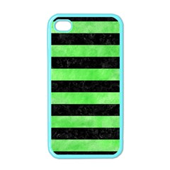 Stripes2 Black Marble & Green Watercolor Apple Iphone 4 Case (color) by trendistuff