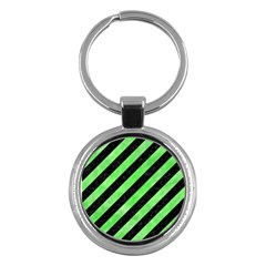 Stripes3 Black Marble & Green Watercolor Key Chains (round)  by trendistuff